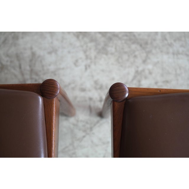 Brown Set of Six Dining Chairs in Teak by Kai Kristiansen for k.s. Mobler Denmark, 1960s For Sale - Image 8 of 10