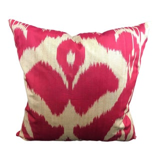 Contemporary Red Ikat Pillow Cover For Sale