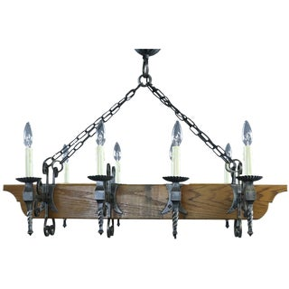 Chandelier Mission Style Vintage French 1950 Oak For Sale