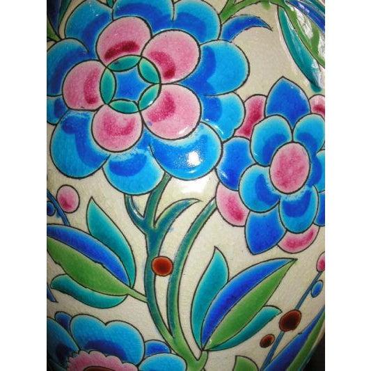 Boch Freres Keramis 1930s Keramis Boch Blue Green and Pink Ceramic Vase For Sale - Image 4 of 8