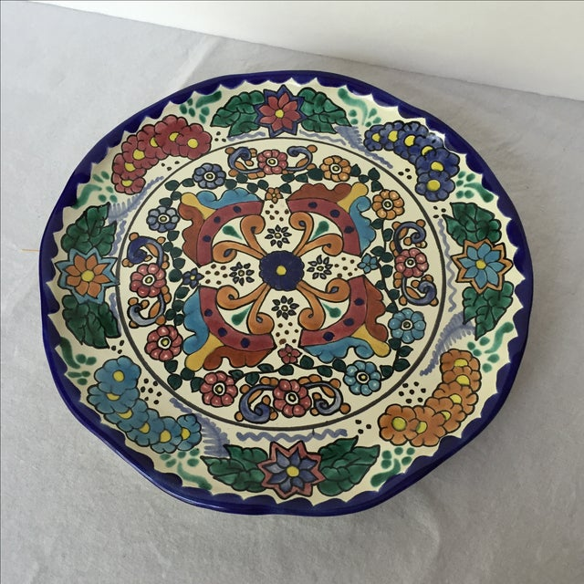 Boho Chic Mexican Pottery Platter For Sale - Image 3 of 9