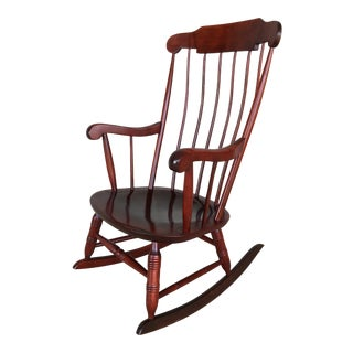 Nichols & Stone Solid Maple Boston Style Windsor Rocking Chair For Sale