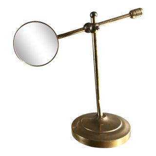 1970s Vintage Brass Adjustable Magnifying Glass For Sale