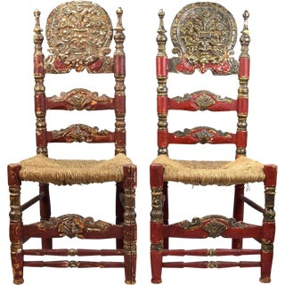 19th Century Spanish Colonial Style Chairs - A Pair