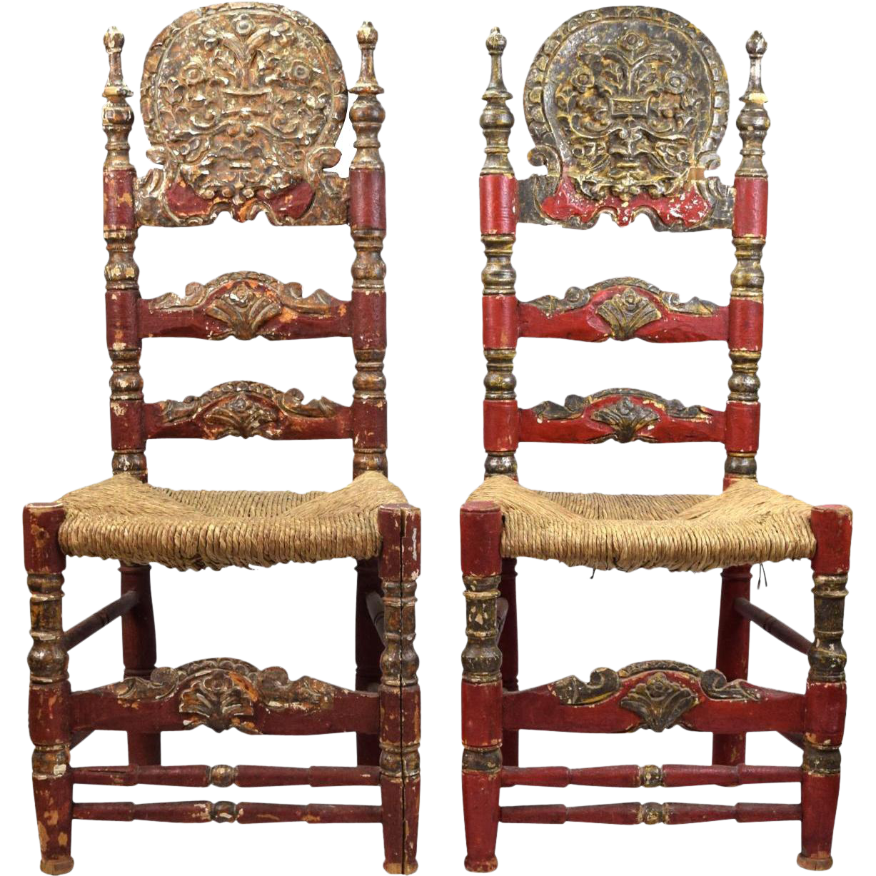19th Century Spanish Colonial Style Chairs   A Pair