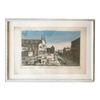 18th Century Vue D'Optique Hand-Colored Engraving of L'Eglise De St. Jean Et St. Paul, Venice. For Sale