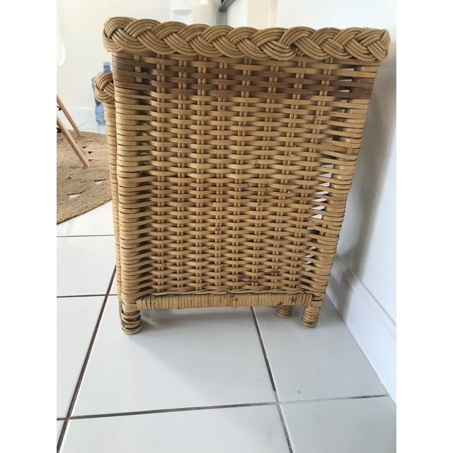 1970s Boho Chic Walters Wicker Trio of Wicker Side Tables - Set of 3 For Sale - Image 4 of 7