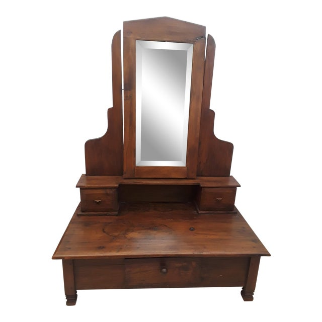 Small Teak Wood Dressing Mirror For Sale
