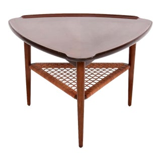 "Poul Jensen for Selig Walnut & Woven Rattan ""Guitar Pick"" Table, 1960s For Sale"