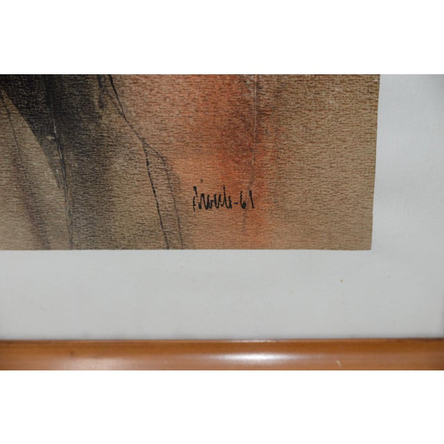 """Wood Mid Century Modern """"Family Group"""" Mixed Media Painting C.1961 For Sale - Image 7 of 11"""