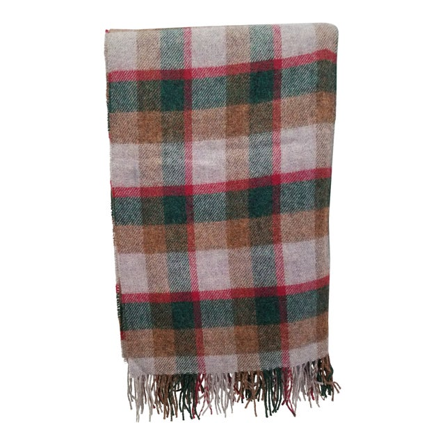 Wool Throw Green, Red, Brown in a Check Design - Made in England For Sale
