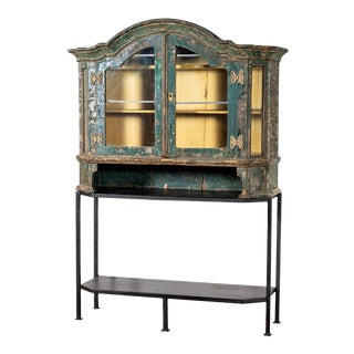 Antique Dutch Cabinet on Iron Base For Sale