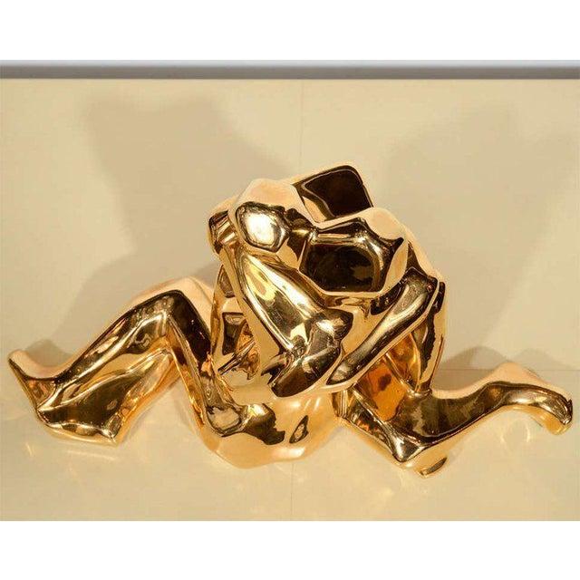 Jaru Mid-Century Modern 24-Karat Gold Plated Ceramic Cubist Sculpture by Jaru For Sale - Image 4 of 10