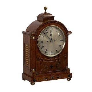 English Regency Mahogany Brass Inlaid Bracket Clock For Sale