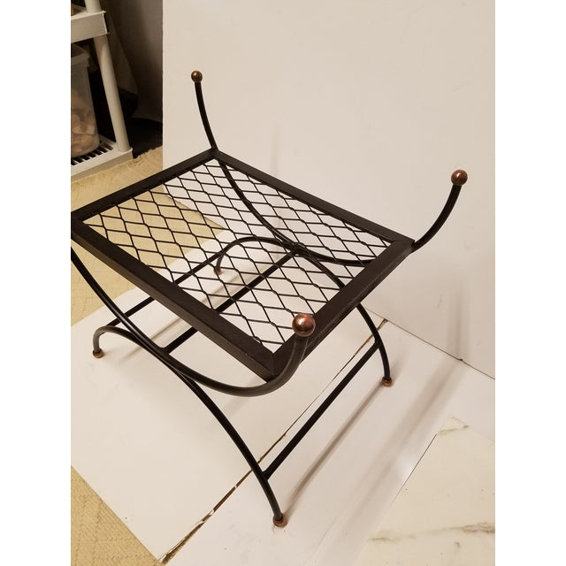 Hollywood Regency Neoclassical Salterini Style Iron & Brass Bench - Image 5 of 5