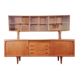 Arne Vodder for h.p. Hansen Teak Credenza and Glass Front Cabinet Top For Sale