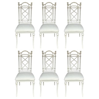 Hollywood Regency Faux Bamboo Dining Chairs, Set of Six For Sale
