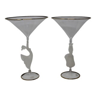 Murano Glass Lamp Work Martini Glasses by Tessaro - a Pair For Sale