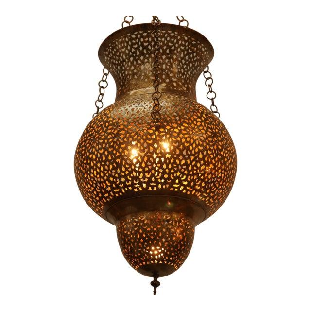 Moroccan Moorish Brass Chandelier For Sale