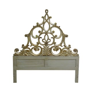 Rococo Style Carved Silver Gilt Wood Queen Headboard For Sale
