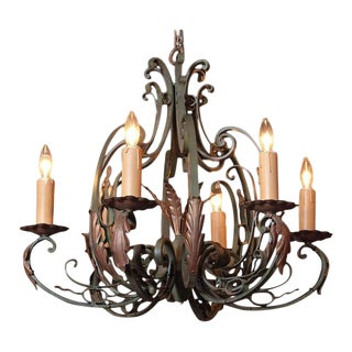 Early 20th Century French 6-Light Verdigris Finish Iron Chandelier For Sale