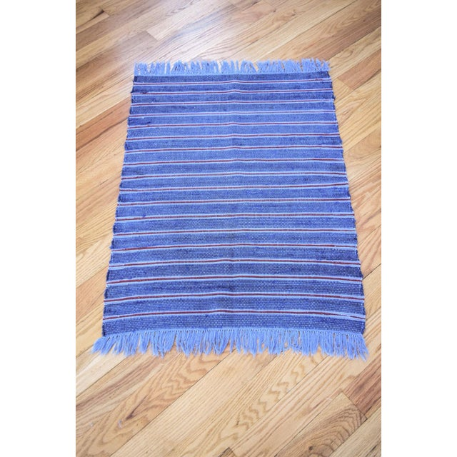 Vintage Swedish Style Hand Loomed Navy Blue Rag Rug - 2′4″ × 3′6″ For Sale In Detroit - Image 6 of 6