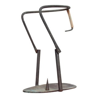 1960s Jack Boyd Style Aged Bronze & Twisted Rope Brutalist Candle Holder For Sale