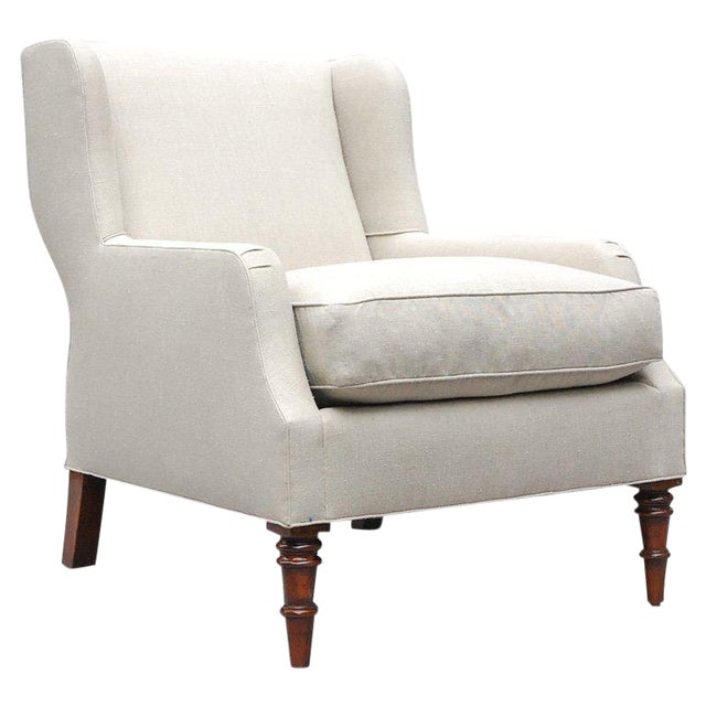 """Selby"" by Lee Stanton Armchair Upholstered in Belgian Linen or Custom Fabric For Sale"