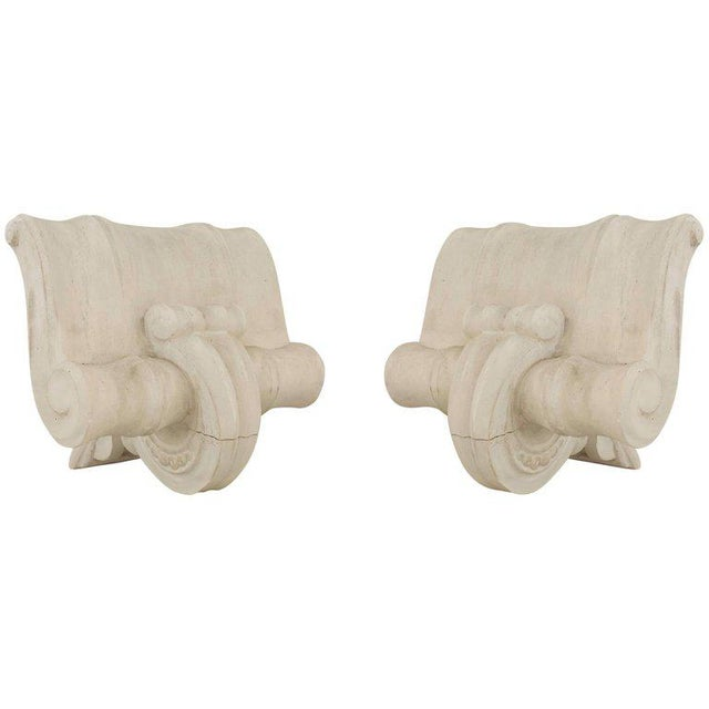 French 1940s Neoclassic White Plaster Capital Wall Sconces - a Pair For Sale - Image 9 of 9