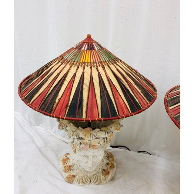 Pair Vintage Seashell Covered Bust Sculptural Lamps For Sale In Raleigh - Image 6 of 13