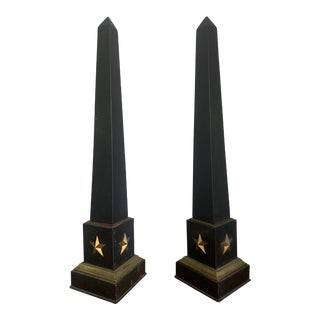1950s Federal Style Black & Gold Obelisks - a Pair For Sale