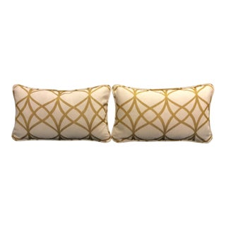Gold & White Pillows - A Pair For Sale