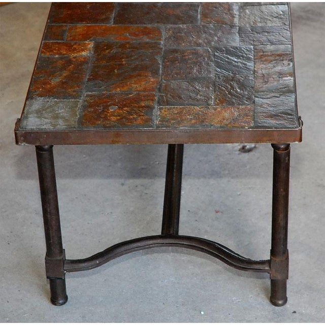 Jacques Adnet French Mid-Century Slate Coffee Table For Sale In Los Angeles - Image 6 of 7