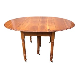 Antique Victorian Cherry Extension Dropleaf Dining Table With 3 Leaves For Sale