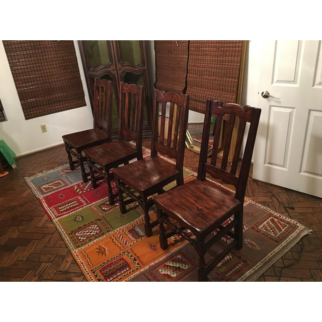 California Spanish Mahogany Dining Chairs - Set of 4 - Image 2 of 4
