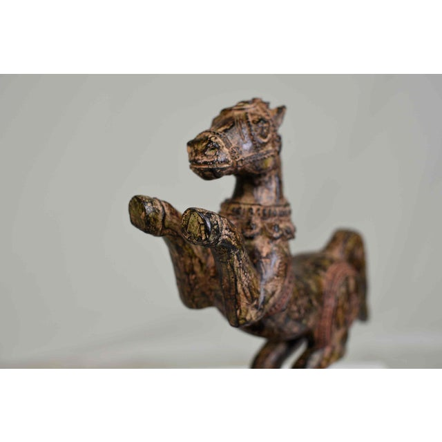 Vintage Decorative Samurai Horse Figures on Lacquered Bases - a Pair For Sale In Chicago - Image 6 of 13