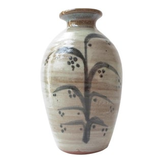 Late 20th Century Culbreth Studio Pottery Vase With Flowering Corn Stalk