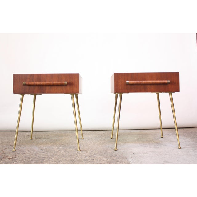 Pair of T.H. Robsjohn-Gibbings Walnut and Brass Nightstands For Sale - Image 11 of 11