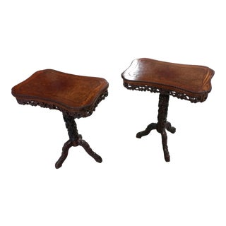 19th Century Highly Carved Beautiful Japanese Side Tables- a Pair