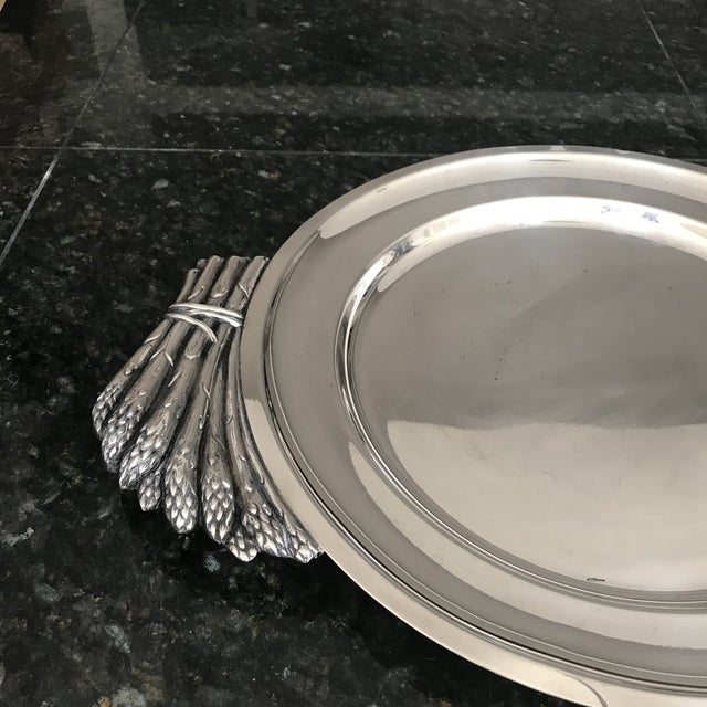 "Italian ""Teghini Firenze"" Silver Plated Serving Platter With Asparagus Handles For Sale In Phoenix - Image 6 of 7"