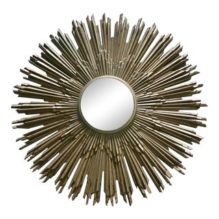 1960s Art Deco Gold Resin Sunburst Mirror