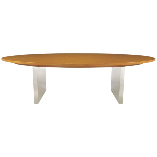 Dunbar Oval Ash and Polished Steel Dining Table For Sale