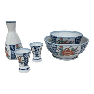 Japanese Porcelain Sake and Bowl Set - 5 Piece Set For Sale