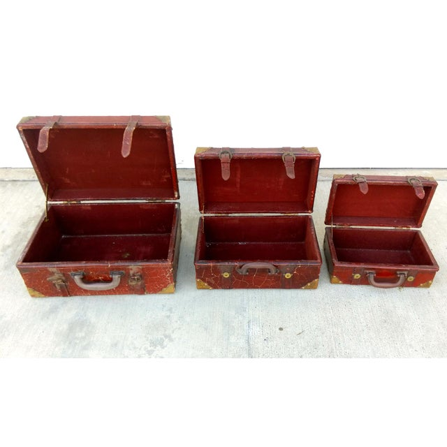 Weathered Ox Blood Nesting Trunks - Set of 3 - Image 6 of 11