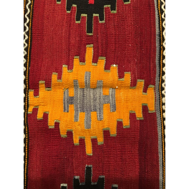 "Vintage Turkish Kilim Patterned Rug - 6'2""x11'3"" - Image 7 of 9"