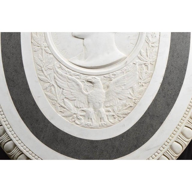 Stone Large 19th Century Oval Marble Relief of the Roman Emperor Claudius With Eagle For Sale - Image 7 of 10