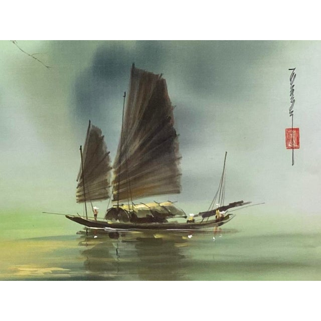 Harbor Scene Signed Painting on Silk For Sale In West Palm - Image 6 of 12