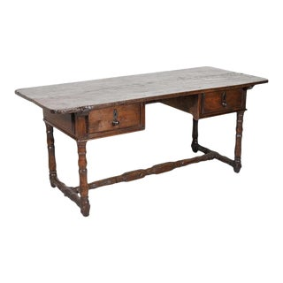 Early 19th Century French Country Oak Desk With Two Drawers For Sale