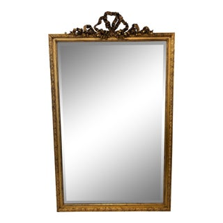 1950s Antique Carved & Gilt Wood Mirror For Sale