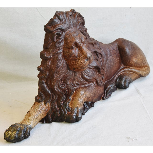 Large Antique French Cast Metal Lion Figure For Sale - Image 9 of 10